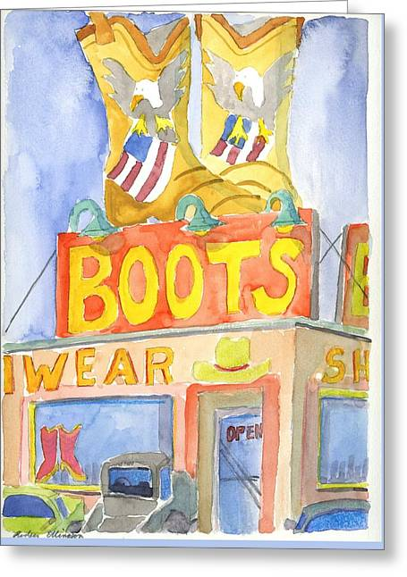 Boots Greeting Card by Rodger Ellingson