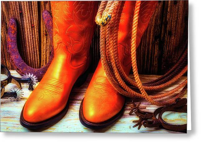 Boots Rpoe And Spurs Greeting Card by Garry Gay
