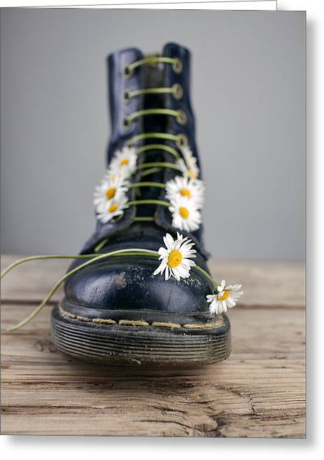 Boots With Daisy Flowers Greeting Card by Nailia Schwarz