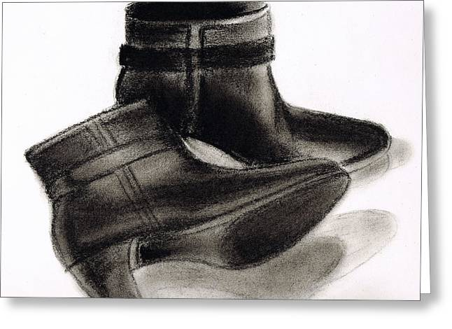 Black Boots Drawings Greeting Cards - Boots Greeting Card by Zara GDezfuli