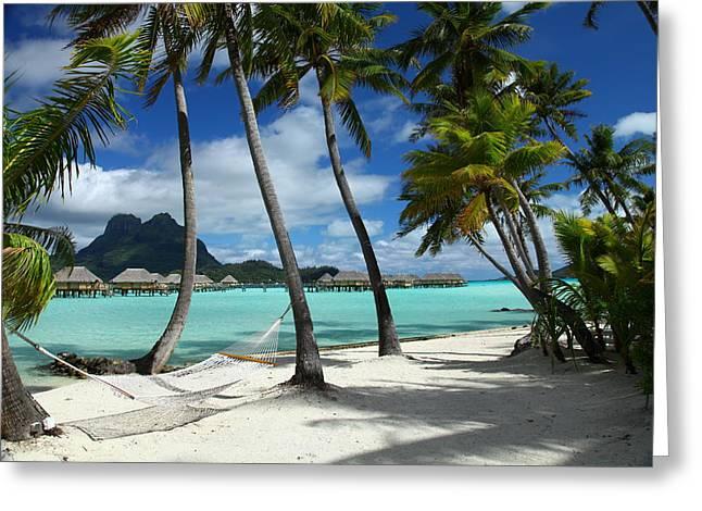 Bora Bora Beach Hammock Greeting Card by Owen Ashurst