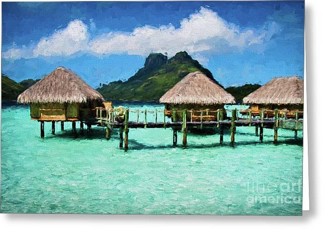Bora Bora Bunaglows Greeting Card by Doug Sturgess