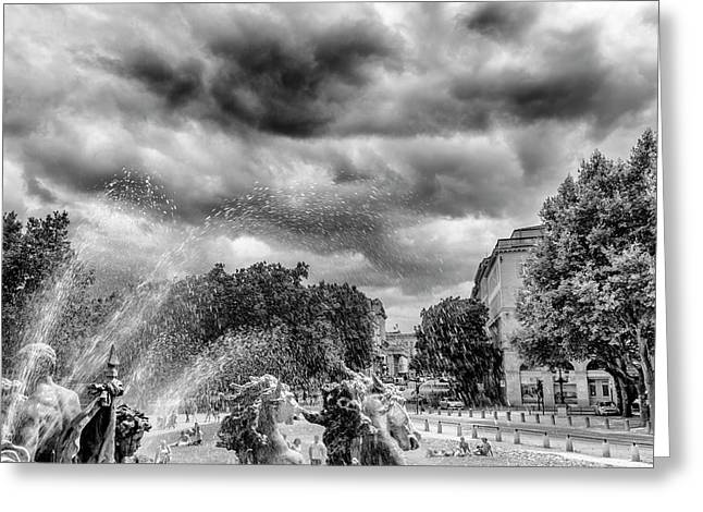 Bordeaux Fountains In The Park Greeting Card by Georgia Fowler