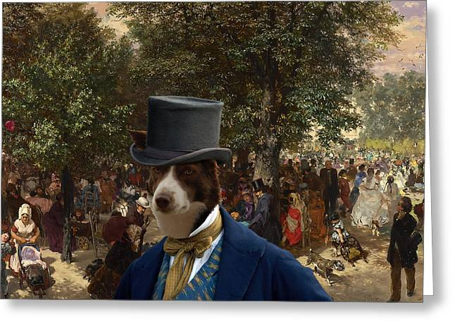 Border Collie Art Canvas Print - Afternoon In The Tuileries Gardens Greeting Card by Sandra Sij