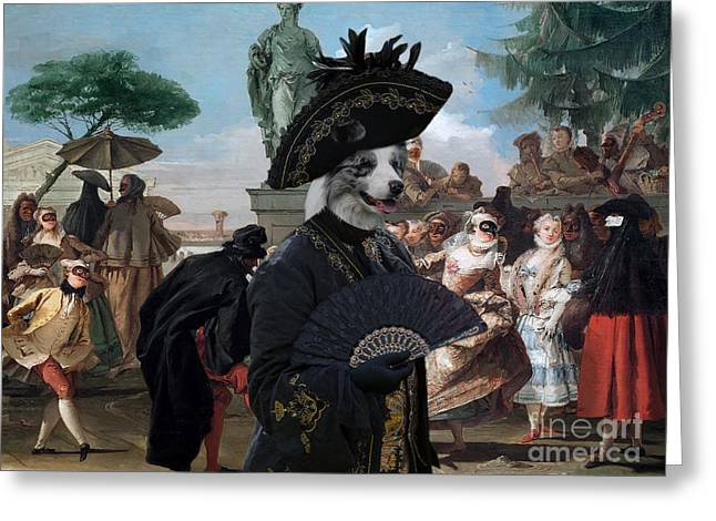 Border Collie Art Canvas Print - The Minuet Greeting Card