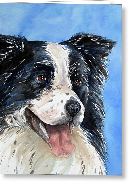 Border Collie Greeting Card by Cherilynn Wood