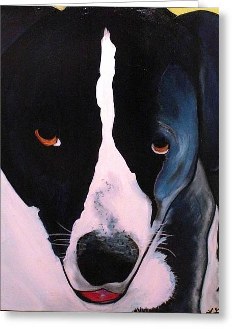 Greeting Card featuring the painting Border Collie- Sasha by Laura  Grisham