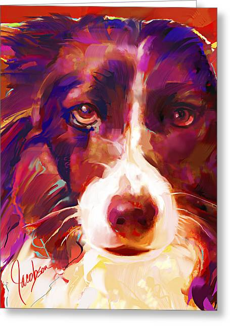 Border Collie Tall Greeting Card by Jackie Jacobson