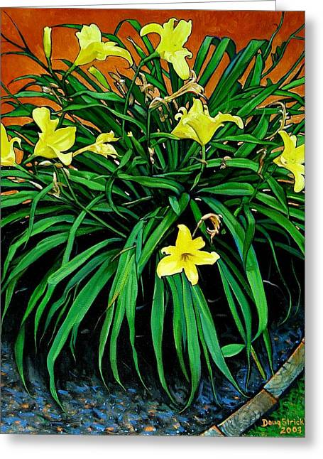 Border Daylilies Greeting Card by Doug Strickland