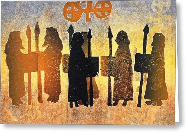 Border Picts Greeting Card by Gloria Wallington