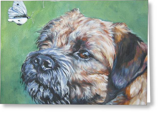 Border Terrier With Butterflies Greeting Card by Lee Ann Shepard