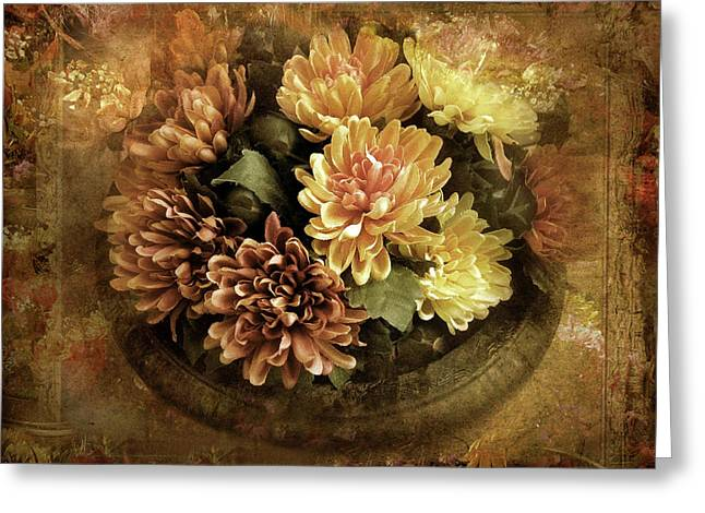 Bordered Mums Greeting Card by Jessica Jenney