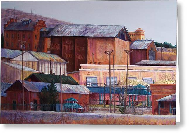 Borderland Mills Greeting Card by Candy Mayer