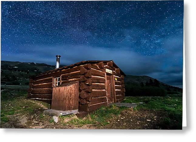 Boreas Pass Cabin Moonlit Night Greeting Card