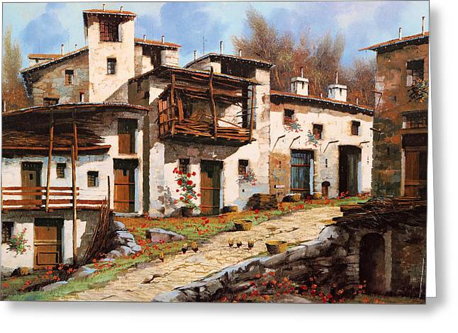 Borgo Di Montagna Greeting Card by Guido Borelli