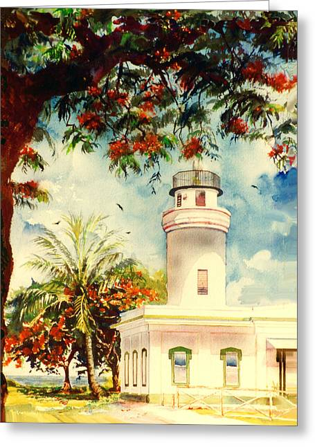 Borinquen Lighthouse Aguadilla Puerto Rico Greeting Card by Estela Robles
