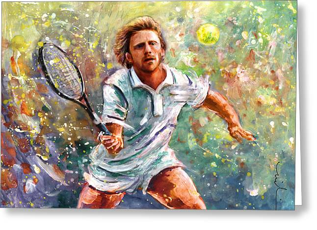 Boris Becker Greeting Card by Miki De Goodaboom