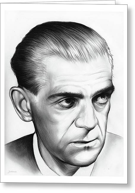 Boris Karloff Greeting Card by Greg Joens