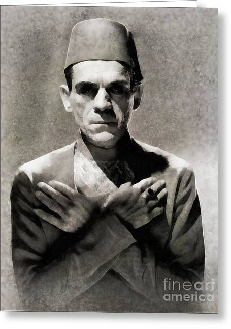 Boris Karloff In The Mummy By Js Greeting Card