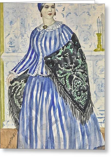Boris Mikhailovich Kustodiev 1878-1927 Costume Design For Dasha, The Merchant's Wife Greeting Card