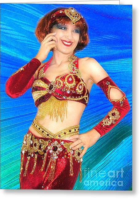 Ameynra Belly Dance Fashion. Red-gold 014 Greeting Card