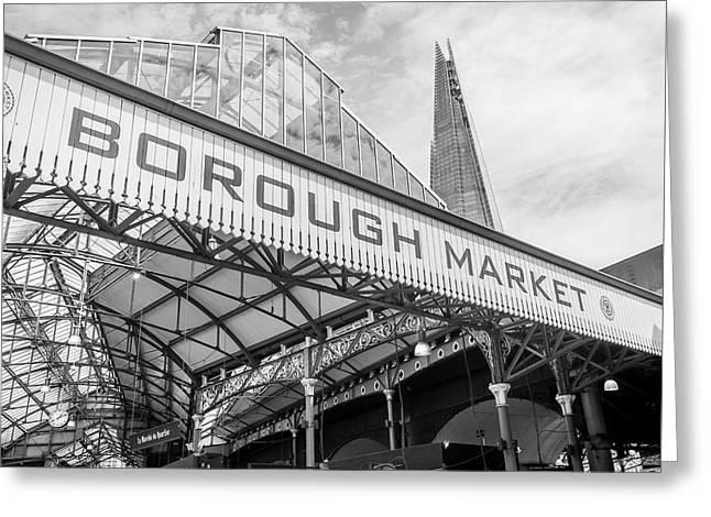 Borough Market London In Mono Greeting Card