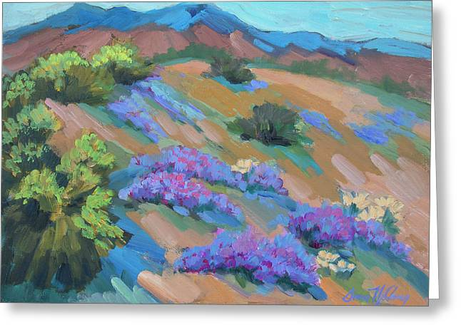 Greeting Card featuring the painting Borrego Springs Verbena by Diane McClary