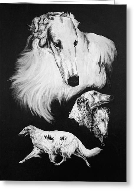 Greeting Card featuring the drawing Borzoi by Rachel Hames