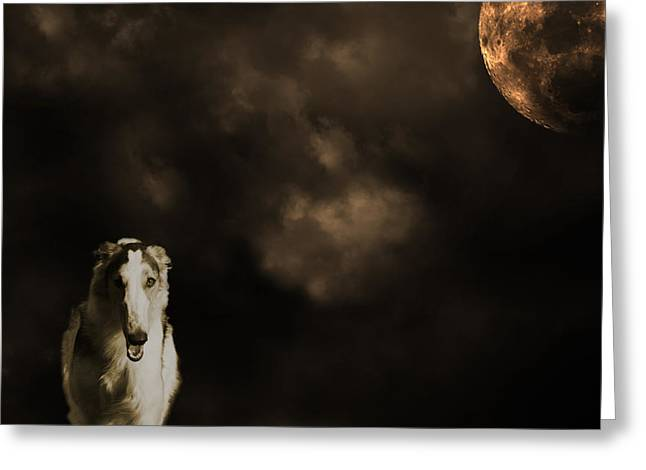 Borzoi Wolf Hound And Full Moon Greeting Card by Christian Lagereek