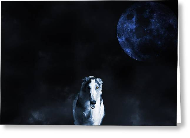 Borzoi Wolf-hound, Hunting Under A Full Moon Greeting Card by Christian Lagereek