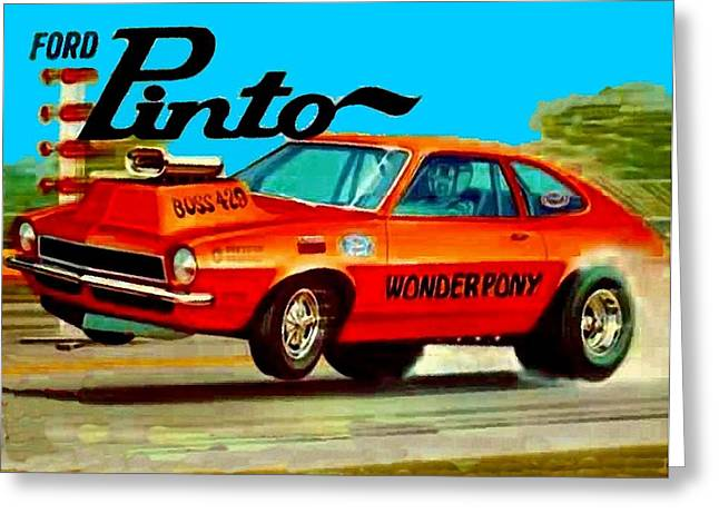 Drag Mixed Media Greeting Cards - Boss Ford Pinto Wonder Pony Greeting Card by Paul Van Scott