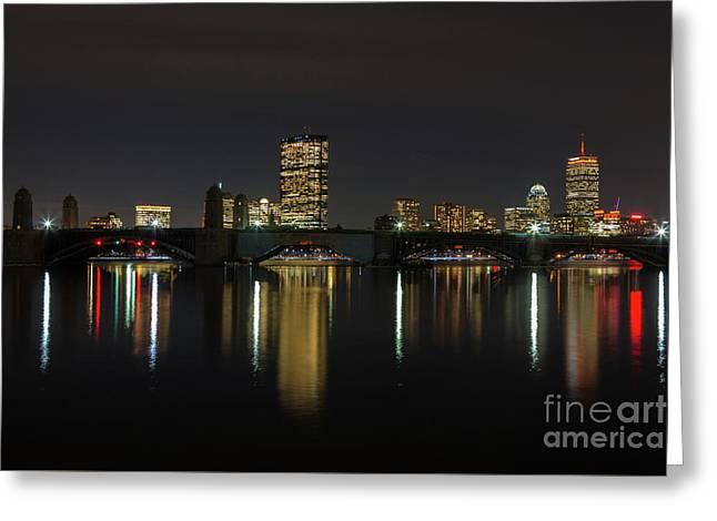 Boston Skyscrappers Behind Bridge Greeting Card