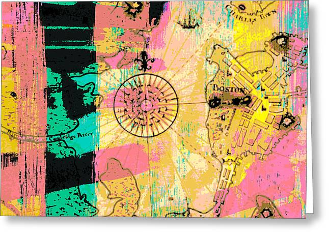 Boston Abstract Compass V2 Greeting Card by Brandi Fitzgerald