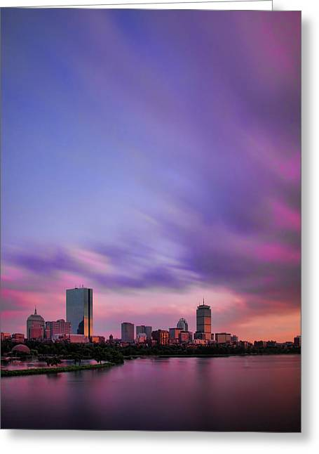 Hancock Greeting Cards - Boston Afterglow Greeting Card by Rick Berk