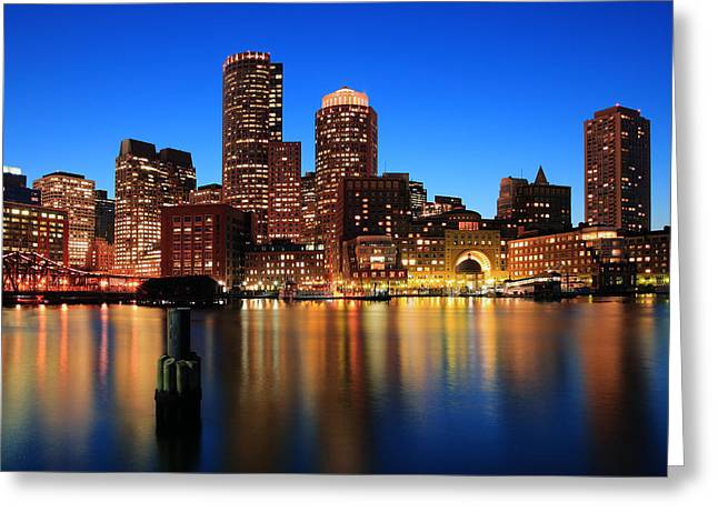 Boston Nights Greeting Cards - Boston Aglow Greeting Card by Rick Berk