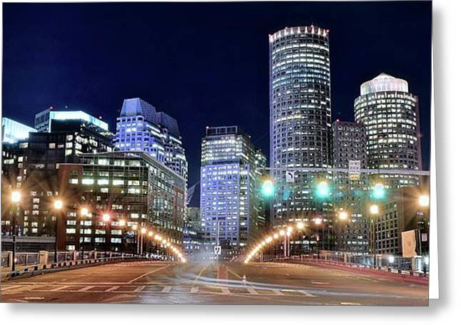 Boston Alight Greeting Card by Frozen in Time Fine Art Photography
