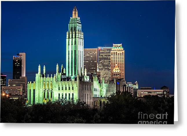 Boston Avenue Methodist Church At Twilight Greeting Card