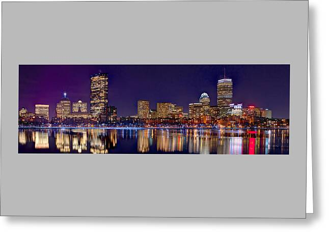 Greeting Card featuring the photograph Boston Back Bay Skyline At Night 2017 Color Panorama 1 To 3 Ratio by Jon Holiday