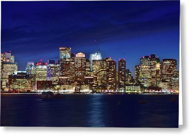 Boston Blue Night 2016 Greeting Card by Frozen in Time Fine Art Photography