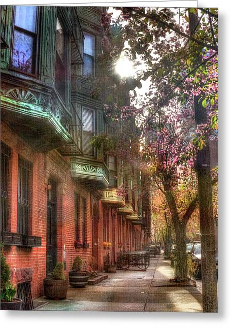 Boston Brownstones In Spring Greeting Card by Joann Vitali