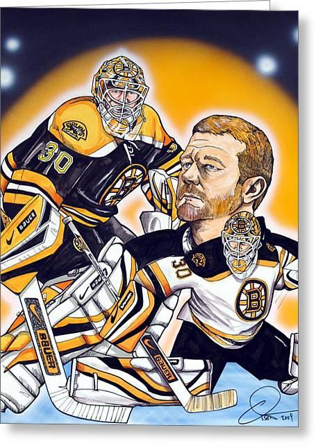 Boston Bruins Goalie Tim Thomas Greeting Card by Dave Olsen