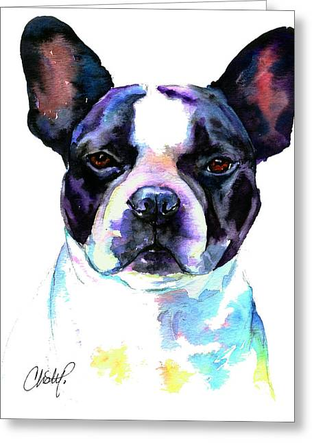 Boston Bulldog Portrait Greeting Card