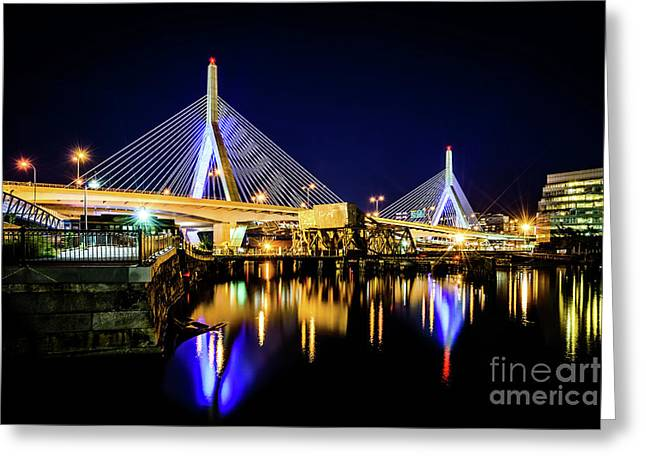 Boston Bunker Hill Zakim Bridge At Night Photo Greeting Card