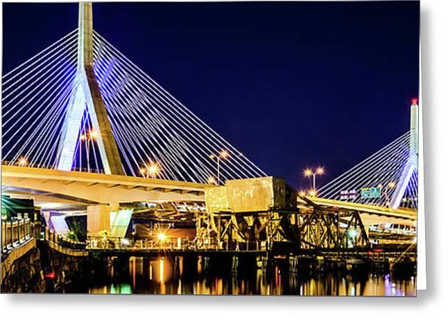 Boston Bunker Hill Zakim Bridge Panorama Photo Greeting Card