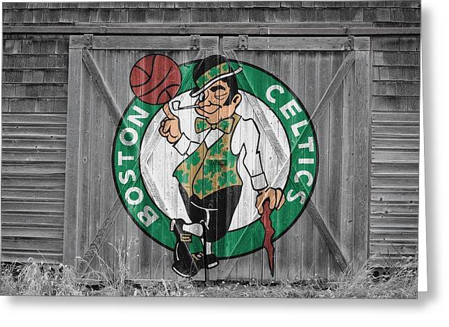 Boston Celtics Barn Doors 2 Greeting Card by Joe Hamilton