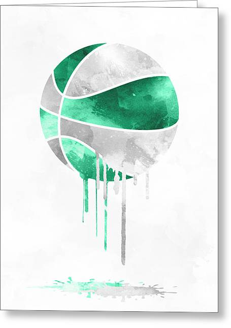 Boston Celtics Dripping Water Colors Pixel Art Greeting Card