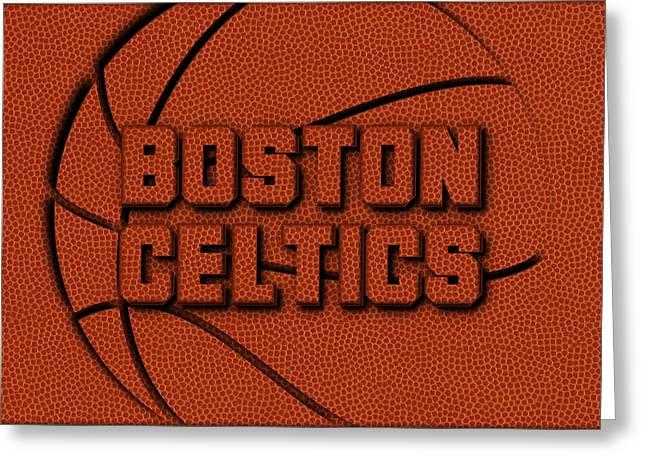 Boston Celtics Leather Art Greeting Card by Joe Hamilton