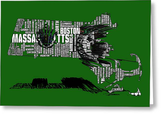 Boston Celtics Typographic Map 3c  Greeting Card