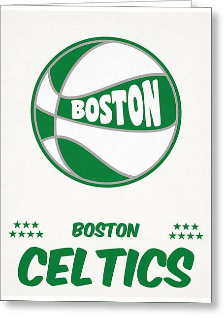 Boston Celtics Vintage Basketball Art Greeting Card