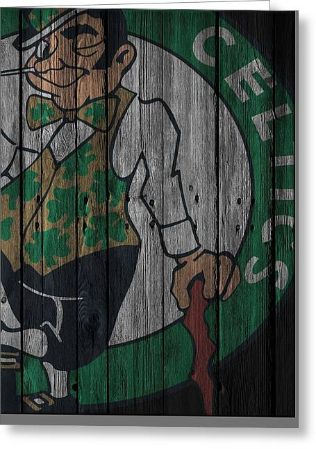 Boston Celtics Wood Fence Greeting Card